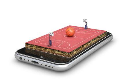 basketball. basketball playground. 3D rendering Stok Fotoğraf