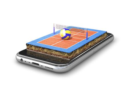volleyball court is located on the smartphone. 3d illustration Banco de Imagens - 131918862
