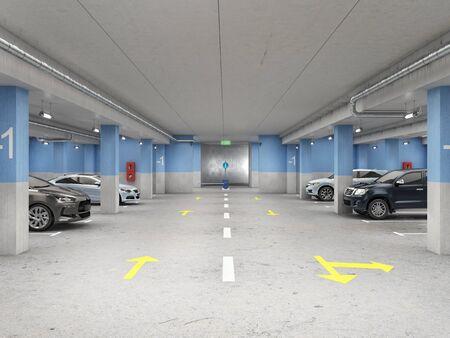 Well-illuminated underground parking with cars