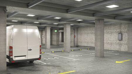 Empty underground parking with white van