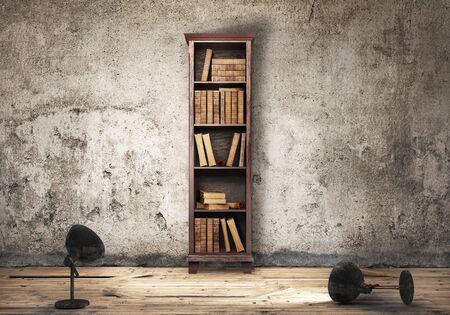 Bookshelf, 3d illustration, grunge Reklamní fotografie