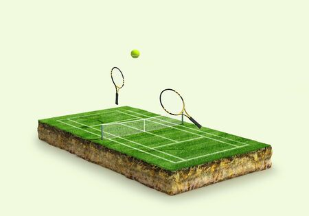 tennis court on the ground with a geological cross section of the soil. 3d illustration 写真素材