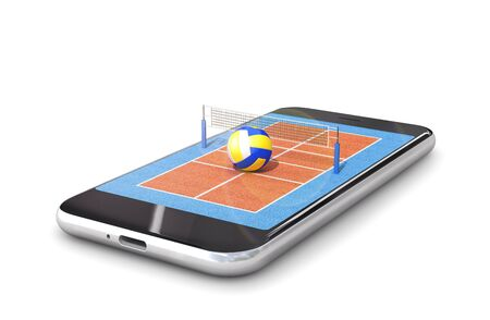 volleyball court is located on the smartphone. 3d illustration