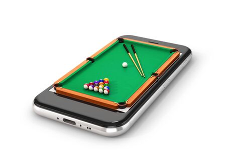 Green pool table with balls and cue. Smartphone. 3d illustration 写真素材