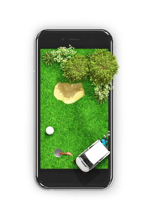 Golf course. Game on a mobile phone. View from above. 3d illustration