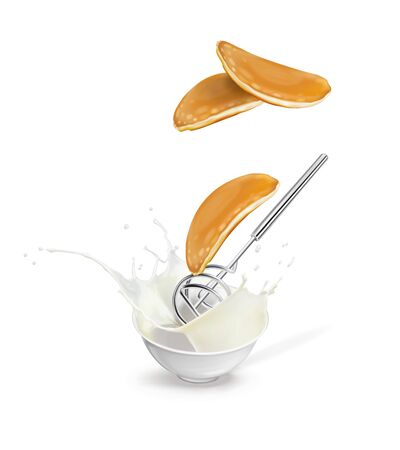 Vector illustration of a pancake flying out of dough and a whisk.