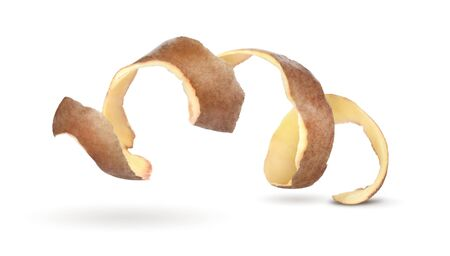 potatoes peel a spiral on a white background