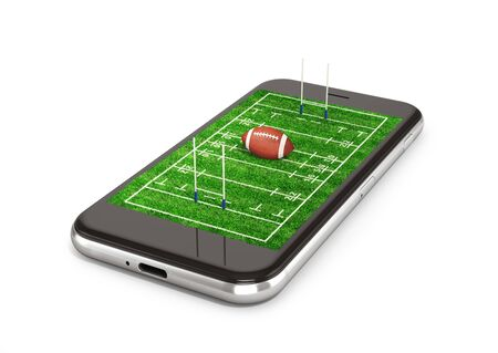Field for a rugby. American football with a ball on a smartphone display. 3D illustration