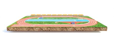 Sport concept. Athletic field on a piece of ground isolation on a white background. 3d illustration Banco de Imagens - 132470855