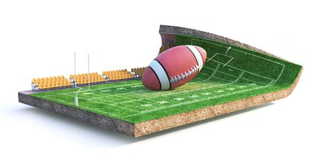 Sport concept. American football field on a piece of ground isolation on a white background. 3d illustration Banco de Imagens - 132470858