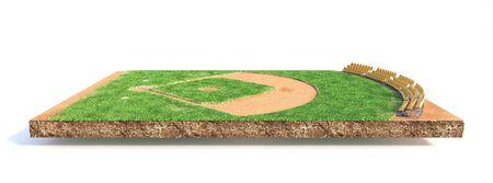 Sportkonzept. Baseballfeld auf einem Stück Bodenisolierung auf weißem Hintergrund. 3D-Darstellung