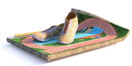 Sport concept. Athletic field on a piece of ground isolation on a white background. 3d illustration