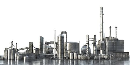 Industrial concept. Big factory isolated on a white background. 3d illustration