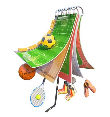 Sport concept. Different sports fields on a piece of ground with sport equipment. 3d illustration Banco de Imagens