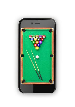 Green pool table with balls and cue. View from above. Smartphone. 3d illustration