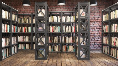 Reading room, 3d illustration, Bookshelves Stok Fotoğraf