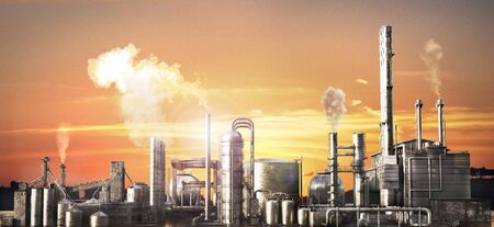 Industrial concept. Big factory with smog. 3d illustration