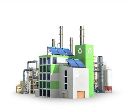 Konzept der Ökologie-Industrie. 3D-Darstellung Standard-Bild