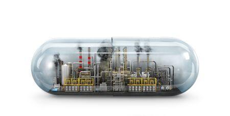 Concept of self-destruction. Poison factory with capsule. 3d illustration Banco de Imagens - 133049041