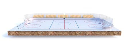 Sport concept. Hockey field on a piece of ground isolation on a white background. 3d illustration