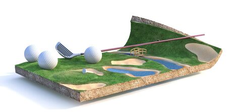 Sport concept. Golf field on a piece of ground isolation on a white background. 3d illustration Reklamní fotografie