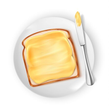 bread with butter isolated on white background, vector illustration