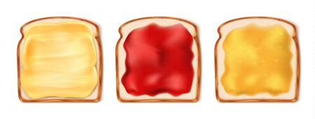 Delicious toasts with various sweet jams on white background