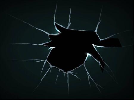 Vector de vidrio realista triturado agrietado