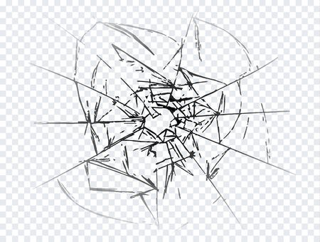 Vector cracked crushed realistic glass Ilustrace