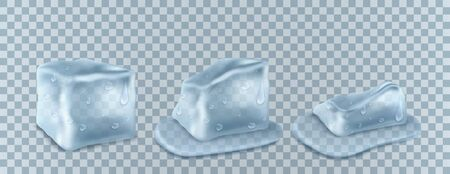 Transparent ice cubes in blue colors. Ilustracja
