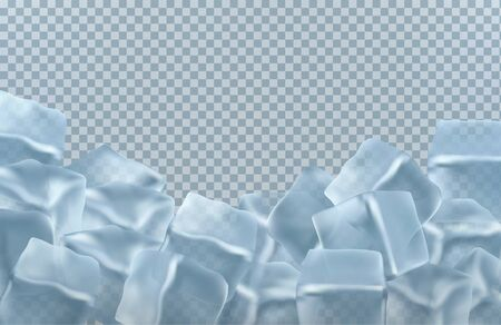 transparent ice cubes in blue colors. vector illustration