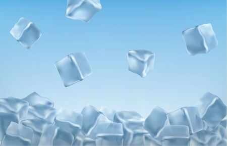 Ice cubes in blue colors. Ilustracja