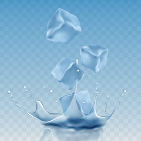 ice cubes in blue colors. vector illustration