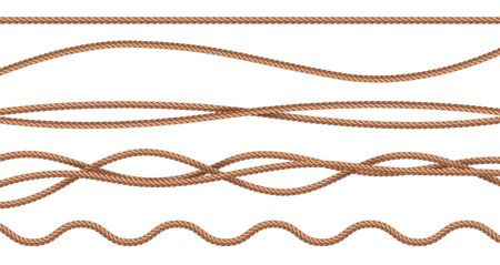 Collection of various ropes string on white