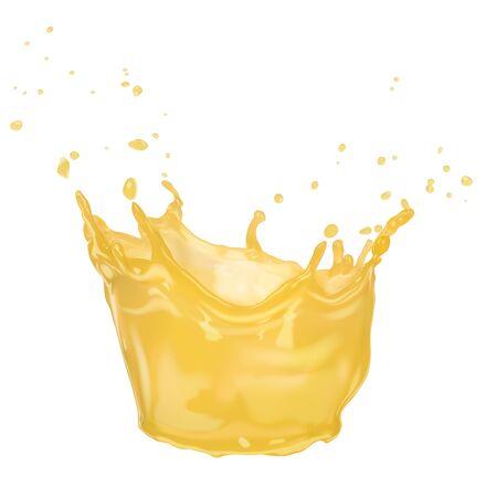 A splash of orange juice. Vector illustration isolated on a white background.