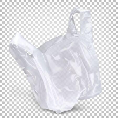 Jednorazowe opakowanie polietylenowe jest koloru białego. Realistyczne ilustracja wektorowa na przezroczystym tle.