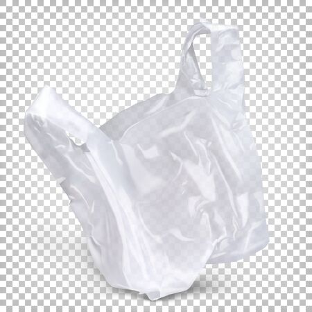 Disposable polyethylene package is white color. Vector realistic illustration isolated on transparent background.