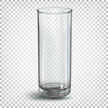 Glass transparent empty glass for juice of a simple cylindrical shape. Vector 3d realistic illustration isolated on white transparent background. Ilustracja