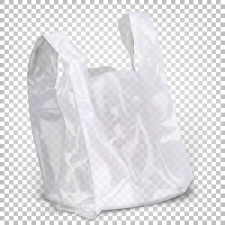Plastic bag of white transparent color standing on the surface.