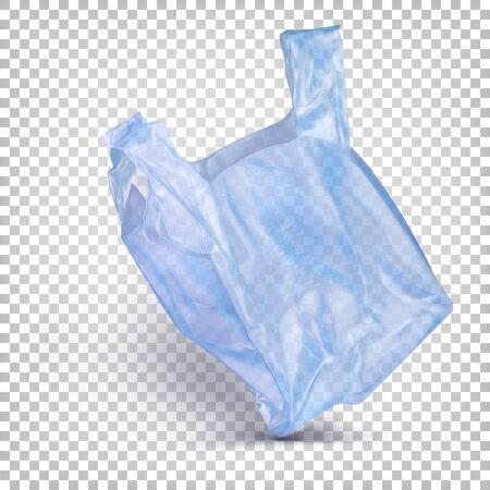 Transparent flying disposable plastic bag blue color.