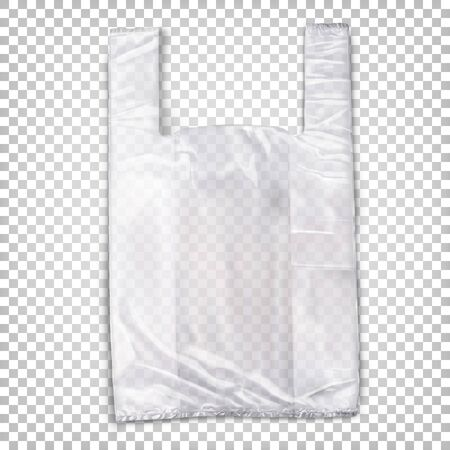 Transparent white plastic bag lying on the surface. Vector realistic illustration isolated on transparent background. Ilustracja