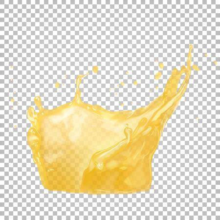 Vector 3d realistic splash of orange juice. Ilustracja