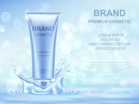 Plantilla de anuncios de cosméticos Aqua Moisturizing. Envase de crema realista y salpicaduras de agua sobre fondo azul.