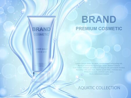 Aqua Moisturizing cosmetics ads template. Realistic cream container and water splash on blue background Ilustracja