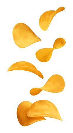 Flying potato chips on white