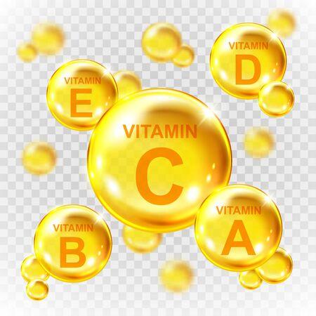 Vector realistic vitamin golden capsules.