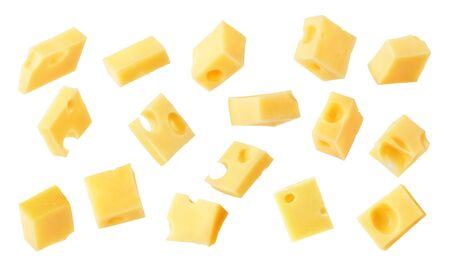 Hard cheese cubes fall isolated on white background Zdjęcie Seryjne