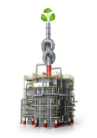 Environmental pollution concept. Pipe with a knot in a factory. 3d illustration