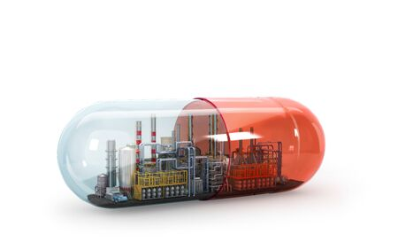 Concept of self-destruction. Poison factory with capsule. 3d illustration
