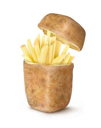 chopped french fries on a white background